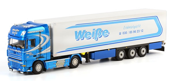 WSI 01-1174 1:50 Spedition Weibe Berlin - DAF XF 105 Super Space Cab w Spedition Weibe Berlin - DAF XF 105 Super Space Cab with 3-Axle Thermo King Reefer TrailerCondition: Factory NewOperational Status: FunctionalThis item is brand new from the factory.Original Box: YesManufacturer: WSIModel Number: 01-1174MSRP: $198.56Category 1: 1:64 ScaleCategory 2: TruckingAvailability: Ships in 3 to 5 Business Days.The Trainz SKU for this item is P12020338. Track: 12020338 - FS - 001 - TrainzAuctionGroup00UNK - TDIDUNK