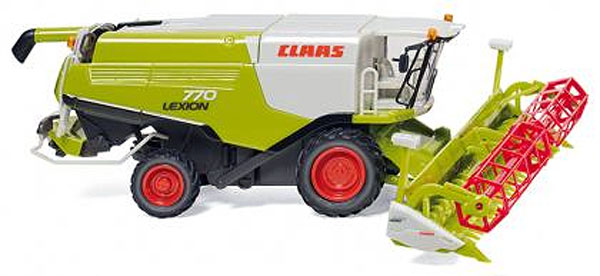Wiking 038910 1:87 Claas Lexion 770 Harvester with V1050 Grain Mower A Claas Lexion 770 Harvester with V1050 Grain Mower Attachment - plasticCondition: Factory NewOperational Status: FunctionalThis item is brand new from the factory.Original Box: YesManufacturer: WikingModel Number: 038910MSRP: $43.18Category 1: 1:87 ScaleCategory 2: FarmingAvailability: Ships in 3 to 5 Business Days.The Trainz SKU for this item is P12040831. Track: 12040831 - FS - 001 - TrainzAuctionGroup00UNK - TDIDUNK