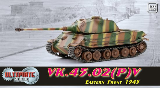 Dragon 60587 1:72 VK.45.02(P)V, Eastern Front 1945 - Ultimate Armor Se VK.45.02(P)V, Eastern Front 1945 - Ultimate Armor Series Dr. Porsche was an important figure in terms of German armored fighting vehicle development during WWII. Unfortunately, not all his ideas met with success, with the VK4501(P)Condition: Factory NewOperational Status: FunctionalThis item is brand new from the factory.Original Box: YesManufacturer: DragonModel Number: 60587MSRP: $46.95Category 1: 1:87 ScaleCategory 2: MilitaryAvailability: Ships in 1 Business Day!The Trainz SKU for this item is P12035253. Track: 12035253 - DS (Shelf)  - 001 - TrainzAuctionGroup00UNK - TDIDUNK