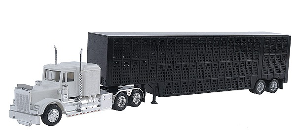 Herpa 6347 1:87 Kenworth W900 w/Cttle Trailer Kenworth W-900 w/Skirted Chassis, Tool Box & 48' Livestock Trailer -- White Tractor, Black TrailerCondition: Factory NewOperational Status: FunctionalThis item is brand new from the factory.Original Box: YesManufacturer: HerpaModel Number: 6347MSRP: $29.95Category 1: 1:87 ScaleCategory 2: TruckingAvailability: Ships in 3 to 5 Business Days.The Trainz SKU for this item is P12034783. Track: 12034783 - FS - 001 - TrainzAuctionGroup00UNK - TDIDUNK