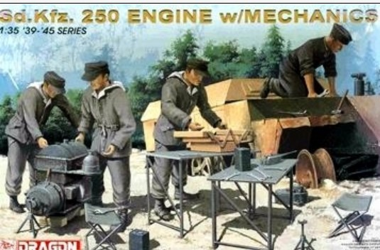 Dragon 6112 1:35 SdKfz 250 Halftrack Engine w/Mechanics (4) (Re-Issue) This is 1:35 SdKfz 250 Halftrack Engine w/Mechanics. Set the table for the practical work on the battlefield and folding chairs, each 2 feet. -Set, in conjunction with the vehicle, the scenery offers reproduced in full atmosphere. Jack and oil, do not miss the variety of equipment, including oil cans and gas burners. Soldiers posing while working is working exactly was wearing a winter anorak-style pose. Is also wrinkled clothes, such as doorjambs. It is widely use in the scene set.Condition: Factory NewOperational Status: FunctionalThis item is brand new from the factory.Original Box: YesManufacturer: DragonModel Number: 6112MSRP: $27.50Category 1: AccessoriesCategory 2: FiguresAvailability: Ships in 3 to 5 Business Days.The Trainz SKU for this item is P12015524. Track: 12015524 - FS - 001 - TrainzAuctionGroup00UNK - TDIDUNK