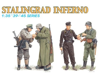 Dragon 6343 1:35 Stalingrad Inferno Soldiers (4) This is 1/35 Stalingrad Inferno 4 piece figure set. This release is an exciting new set of figures from the Battle of Stalingrad. One pair of figures has an officer lighting a cigarette for a sentry, both outfitted in winter clothing for the extremely bitter weather. The second pair portrays a medic bandaging the wounded hand of a panzer officer.Stalingrad was the ultimate target of the German 6th Army. This Russian city was the center of vicious house-to-house and hand-to-hand fighting from November 1942 to January 1943.Condition: Factory NewOperational Status: FunctionalThis item is brand new from the factory.Original Box: YesManufacturer: DragonModel Number: 6343MSRP: $17.95Category 1: AccessoriesCategory 2: FiguresAvailability: Ships in 3 to 5 Business Days.The Trainz SKU for this item is P12014975. Track: 12014975 - FS - 001 - TrainzAuctionGroup00UNK - TDIDUNK