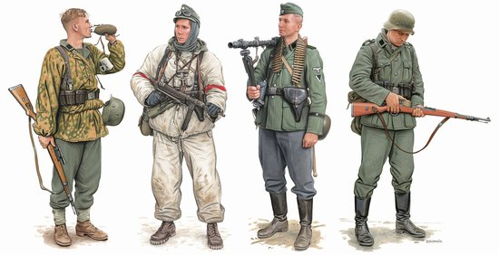 Dragon 6707 1:35 German Elite Infantry Russia 1941-43 (4) The four German figures contained in the set are all distinctly dressed and armed. Their uniforms reflect the wide variety of gear that was worn in this mid-war period. One of them is fully equipped for winter combat as he's wearing a camouflaged snowsuit, while another has a typical camouflage smock. They also carry a range of weapons that fit this stage of the war, including an MG34 machine gun, MP40 machine pistol and Kar 98k rifle. The poses all possess a convincingly authentic look and they'll slot into a wide range of dioramas or vignettes with ease. For example, taking a swig from a water bottle or loading an ammo clip into a rifle were commonplace for soldiers, but such actions are rarely offered in 1/35 scale figures. These versatile plastic figures from Dragon will inspire diorama ideas in modelers' minds, and eventually bring their miniature scenes to life!Condition: Factory NewOperational Status: FunctionalThis item is brand new from the factory.Original Box: YesManufacturer: DragonModel Number: 6707MSRP: $20.50Category 1: AccessoriesCategory 2: FiguresAvailability: Ships in 3 to 5 Business Days.The Trainz SKU for this item is P12014547. Track: 12014547 - FS - 001 - TrainzAuctionGroup00UNK - TDIDUNK