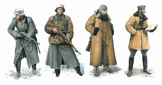 Dragon 6735 1:35 German Soldiers Operation Typhoon 1941 (4) Dragon's newest 1/35 scale figure set portrays German soldiers from Operation Typhoon. The figures are bundled up against the freezing cold winter weather that made conditions even more hazardous. Typical of the period, and Germany's ill-preparedness for winter warfare, the four soldiers are wearing a wide range of clothing. A general has a sheepskin coat on, attire that's rarely produced in 1/35 scale. The poses are extremely vivid, and one can almost feel the cold seeping through their clothing and the snow flurries blowing against them. These well-sculpted figures could be used individually in a vignette, or grouped together in a winter scene. This was the first severe winter that German troops encountered, and this set perfectly conveys the grueling nature of the ultimately unsuccessful Operation Typhoon.Condition: Factory NewOperational Status: FunctionalThis item is brand new from the factory.Original Box: YesManufacturer: DragonModel Number: 6735MSRP: $17.50Category 1: AccessoriesCategory 2: FiguresAvailability: Ships in 3 to 5 Business Days.The Trainz SKU for this item is P12020952. Track: 12020952 - FS - 001 - TrainzAuctionGroup00UNK - TDIDUNK