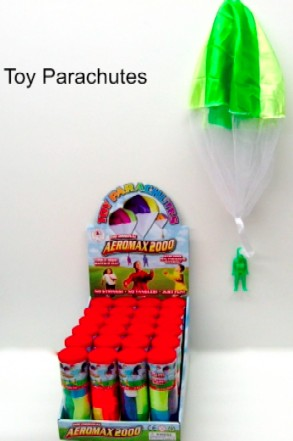 AEROMAX TOYS 2000 Toy Parachute w/Figure Counter Display (24pc) The world's finest Tangle Free Toy Parachute as stated by thousands of our customers. It has no strings to tangle, no batteries to replace, & no assembly required. Simply toss it high & watch it fly! This attractive packaging is 100% recyclable & reusable. Our Parachutes are made with all of the newest & brightest neon colors and come-packed in a colorful 24-piece counter display.Condition: Factory NewOperational Status: FunctionalThis item is brand new from the factory.Original Box: YesManufacturer: Aeromax ToysModel Number: 2000MSRP: $155.76Category 1: AccessoriesCategory 2: FiguresAvailability: Ships in 3 to 5 Business Days.The Trainz SKU for this item is P12064830. Track: 12064830 - FS - 001 - TrainzAuctionGroup00UNK - TDIDUNK