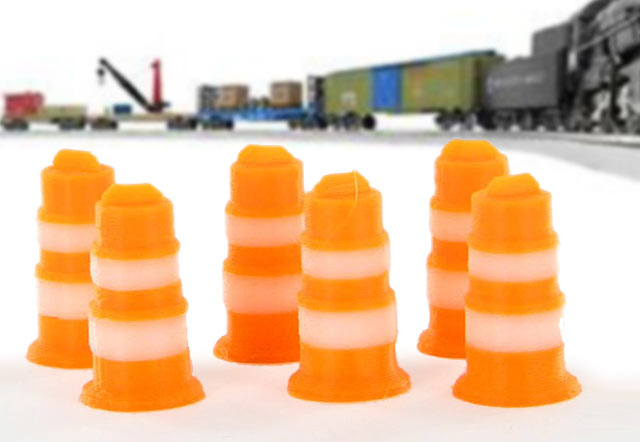 Traffic Barrels - 6 pack orange and white - ABS plastic - Made in the USA using 3D printer technologyCondition: Factory New (C-9All original; unused; factory rubs and evidence of handling, shipping and factory test run.Standards for all toy train related accessory items apply to the visual appearance of the item and do not consider the operating functionality of the equipment.Condition and Grading Standards are subjective, at best, and are intended to act as a guide. )Operational Status: FunctionalThis item is brand new from the factory.Original Box: Yes (P-9May have store stamps and price tags. Has inner liners.)Manufacturer: 3D to ScaleModel Number: 43-105-ORMSRP: $7.99Scale/Era: O ModernModel Type: Accessories & BuildingsAvailability: Ships in 3 to 5 Business Days.The Trainz SKU for this item is P12042440. Track: 12042440 - FS - 001 - TrainzAuctionGroup00UNK - TDIDUNK