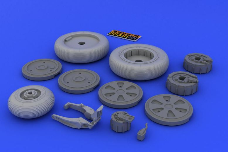 Eduard 648026 1:48 MiG-21 Wheels for Eduard Aircraft (Photo-Etched & R This is an Eduard 648026 1:48 MiG-21 Wheels for Eduard Aircraft (Photo-Etched & Resin). This is recommended for Eduard Kit. This features 2 main wheels with accurate pattern, separate brake drums (for better painting posibilities), separate wheel disks, nose wheel with separate brake drum, nose wheel fork made from stronger material, additional photo etched set, and painting mask. Products: Brassin, Type: Aircraft, Tags: Wheels, and Weight: 0.027 kg.Condition: Factory NewOperational Status: FunctionalThis item is brand new from the factory.Original Box: YesManufacturer: EduardModel Number: 648026MSRP: $9.95Category 1: AccessoriesCategory 2: OtherAvailability: Ships in 3 to 5 Business Days.The Trainz SKU for this item is P12019714. Track: 12019714 - FS - 001 - TrainzAuctionGroup00UNK - TDIDUNK