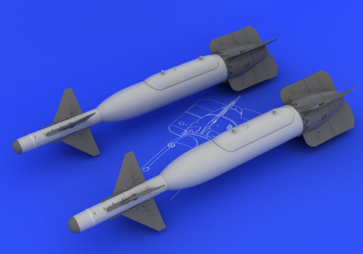 Eduard 648095 1:48 GBU-24 Bomb for Aircraft (Photo-Etched & Resin) This is an Eduard 648095 1:48 GBU-24 Bomb for Aircraft (Photo-Etched & Resin). Products: Brassin, Type: Aircraft, Tags: Armament & Bombs, and Weight: 0.05 kg.Condition: Factory NewOperational Status: FunctionalThis item is brand new from the factory.Original Box: YesManufacturer: EduardModel Number: 648095MSRP: $12.95Category 1: AccessoriesCategory 2: OtherAvailability: Ships in 3 to 5 Business Days.The Trainz SKU for this item is P12040165. Track: 12040165 - FS - 001 - TrainzAuctionGroup00UNK - TDIDUNK