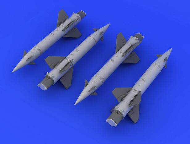 Eduard 648163 1:48 AGM-12 Bullpup A for Aircraft (Photo-Etched & Resin This is an Eduard 648163 1:48 AGM-12 Bullpup A for Aircraft (Photo-Etched & Resin). 4 pieces of US air-to-ground missiles. Decals included. Products: Brassin, Type: Aircraft, Tags: Armament & Missile, and Weight: 0.041 kg.Condition: Factory NewOperational Status: FunctionalThis item is brand new from the factory.Original Box: YesManufacturer: EduardModel Number: 648163MSRP: $14.95Category 1: AccessoriesCategory 2: OtherAvailability: Ships in 3 to 5 Business Days.The Trainz SKU for this item is P12041649. Track: 12041649 - FS - 001 - TrainzAuctionGroup00UNK - TDIDUNK