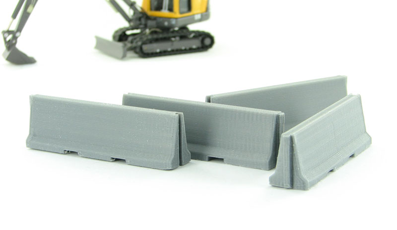 Traffic / Jersey Barriers - 4 pack interlocking concrete grey - ABS plastic - Made in the USA using 3D printer technologyCondition: Factory NewOperational Status: FunctionalThis item is brand new from the factory.Original Box: YesManufacturer: 3D to ScaleModel Number: 50-100-GYMSRP: $8.00Category 1: AccessoriesCategory 2: OtherAvailability: Ships in 3 to 5 Business Days.The Trainz SKU for this item is P12007738. Track: 12007738 - FS - 001 - TrainzAuctionGroup00UNK - TDIDUNK