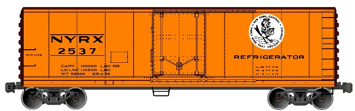 Accurail 8519 HO 40' Steel Plug Door Refrigerator Cars - New York Cent This is a Accurail 8519 HO 40' Steel Plug Door Refrigerator Cars - New York Central #2537Condition: Factory New (C-9All original; unused; factory rubs and evidence of handling, shipping and factory test run.Standards for all toy train related accessory items apply to the visual appearance of the item and do not consider the operating functionality of the equipment.Condition and Grading Standards are subjective, at best, and are intended to act as a guide. )Operational Status: FunctionalThis item is brand new from the factory.Original Box: Yes (P-9May have store stamps and price tags. Has inner liners.)Manufacturer: AccurailModel Number: 8519Road Name: 2537MSRP: $18.98Scale/Era: HO ModernModel Type: Freight CarsAvailability: Ships in 3 to 5 Business Days.The Trainz SKU for this item is P12100567. Track: 12100567 - FS - 001 - TrainzAuctionGroup00UNK - TDIDUNK