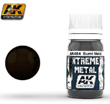 AK Interactive 484 Xtreme Metal Burnt Metal Metallic Paint 30ml Bottle