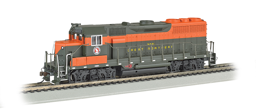 Bachmann 68803 HO Great Northern EMD GP35 Diesel Locomotive with Bluet This is a Bachmann 68803 HO Scale Great Northern EMD GP35 with E-Z App™ Wireless #3021. It Features of E-Z App™ Touch-Screen Train Control include: wireless control with any Bluetooth® 4-supported iPhone®, iPad®, or iOS device (includes iPhone® 4s, 5, 5c, 5s, 6, and 6 Plus; iPad Air® and iPad mini™, 3rd and 4th generations; and iPod touch® 5 or newer) , operates from up to 100 feet away with Bluetooth® Smart technology, realistic, dynamic engine sound broadcast through your Bluetooth® 4-supported smart device,requires 16 volt DC or DCC track power for operation, ready to launch and use instantly after downloading the FREE Bachmann E-Z App™ from the Apple App Store, and no configuration or additional equipment required. Locomotive features: all-wheel drive,can motor,LED headlights,RP25 wheel contours,E-Z Mate® Mark II couplers, and Performs best on 18 radius curves or greater.Condition: Factory New (C-9All original; unused; factory rubs and evidence of handling, shipping and factory test run.Standards for all toy train related accessory items apply to the visual appearance of the item and do not consider the operating functionality of the equipment.Condition and Grading Standards are subjective, at best, and are intended to act as a guide. )Operational Status: FunctionalThis item is brand new from the factory.Original Box: Yes (P-9May have store stamps and price tags. Has inner liners.)Manufacturer: BachmannModel Number: 68803Road Name: Great NorthernMSRP: $239.00Scale/Era: HO ModernModel Type: Diesel LocoAvailability: Ships in 1 Business Day!The Trainz SKU for this item is P12157784. Track: 12157784 - No Location Assigned - 001 - TrainzAuctionGroup00UNK - TDIDUNK