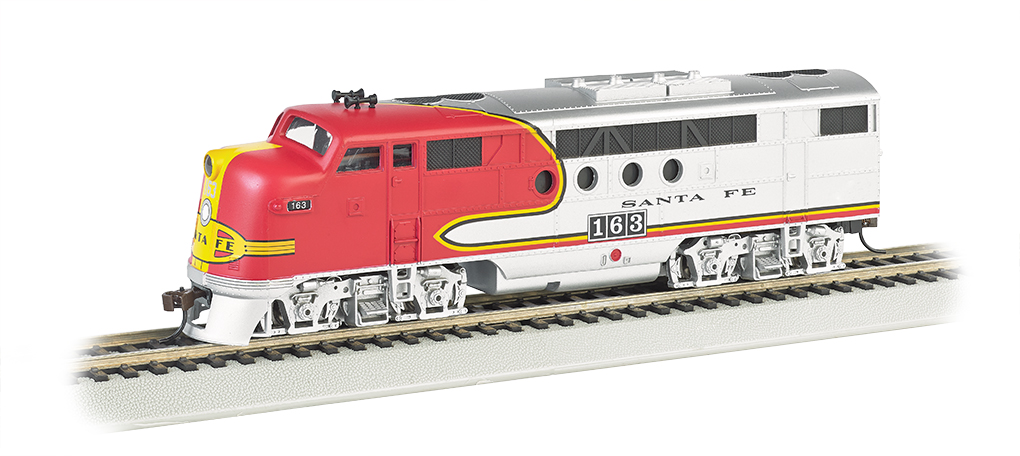 Bachmann 68901 HO Santa Fe EMD FT Diesel Locomotive with Bluetooth E-Z This is a Bachmann 68901 HO Scale Santa Fe EMD FT with E-Z App™ Wireless #163 . It Features of E-Z App™ Touch-Screen Train Control include: wireless control with any Bluetooth® 4-supported iPhone®, iPad®, or iOS device (includes iPhone® 4s, 5, 5c, 5s, 6, and 6 Plus; iPad Air® and iPad mini™, 3rd and 4th generations; and iPod touch® 5 or newer) , operates from up to 100 feet away with Bluetooth® Smart technology, realistic, dynamic engine sound broadcast through your Bluetooth® 4-supported smart device,requires 16 volt DC or DCC track power for operation, ready to launch and use instantly after downloading the FREE Bachmann E-Z App™ from the Apple App Store, and no configuration or additional equipment required. Locomotive features: all-wheel drive,can motor,LED headlights,RP25 wheel contours,E-Z Mate® Mark II couplers, and Performs best on 18 radius curves or greater.Condition: Factory New (C-9All original; unused; factory rubs and evidence of handling, shipping and factory test run.Standards for all toy train related accessory items apply to the visual appearance of the item and do not consider the operating functionality of the equipment.Condition and Grading Standards are subjective, at best, and are intended to act as a guide. )Operational Status: FunctionalThis item is brand new from the factory.Original Box: Yes (P-9May have store stamps and price tags. Has inner liners.)Manufacturer: BachmannModel Number: 68901Road Name: Santa FeMSRP: $219.00Scale/Era: HO ModernModel Type: Diesel LocoAvailability: Ships in 1 Business Day!The Trainz SKU for this item is P12104687. Track: 12104687 - No Location Assigned - 001 - TrainzAuctionGroup00UNK - TDIDUNK