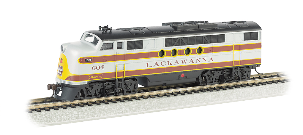 Bachmann 68903 HO Lackawanna EMD FT Diesel Locomotive withBluetooth E- This is a Bachmann 68903 HO Scale Lackawanna EMD FT with E-Z App™ Wireless #604 . It Features of E-Z App™ Touch-Screen Train Control include: wireless control with any Bluetooth® 4-supported iPhone®, iPad®, or iOS device (includes iPhone® 4s, 5, 5c, 5s, 6, and 6 Plus; iPad Air® and iPad mini™, 3rd and 4th generations; and iPod touch® 5 or newer) , operates from up to 100 feet away with Bluetooth® Smart technology, realistic, dynamic engine sound broadcast through your Bluetooth® 4-supported smart device,requires 16 volt DC or DCC track power for operation, ready to launch and use instantly after downloading the FREE Bachmann E-Z App™ from the Apple App Store, and no configuration or additional equipment required. Locomotive features: all-wheel drive,can motor,LED headlights,RP25 wheel contours,E-Z Mate® Mark II couplers, and Performs best on 18 radius curves or greater.Condition: Factory New (C-9All original; unused; factory rubs and evidence of handling, shipping and factory test run.Standards for all toy train related accessory items apply to the visual appearance of the item and do not consider the operating functionality of the equipment.Condition and Grading Standards are subjective, at best, and are intended to act as a guide. )Operational Status: FunctionalThis item is brand new from the factory.Original Box: Yes (P-9May have store stamps and price tags. Has inner liners.)Manufacturer: BachmannModel Number: 68903Road Name: LackawannaMSRP: $219.00Scale/Era: HO ModernModel Type: Diesel LocoAvailability: Ships in 1 Business Day!The Trainz SKU for this item is P12104689. Track: 12104689 - No Location Assigned - 001 - TrainzAuctionGroup00UNK - TDIDUNK