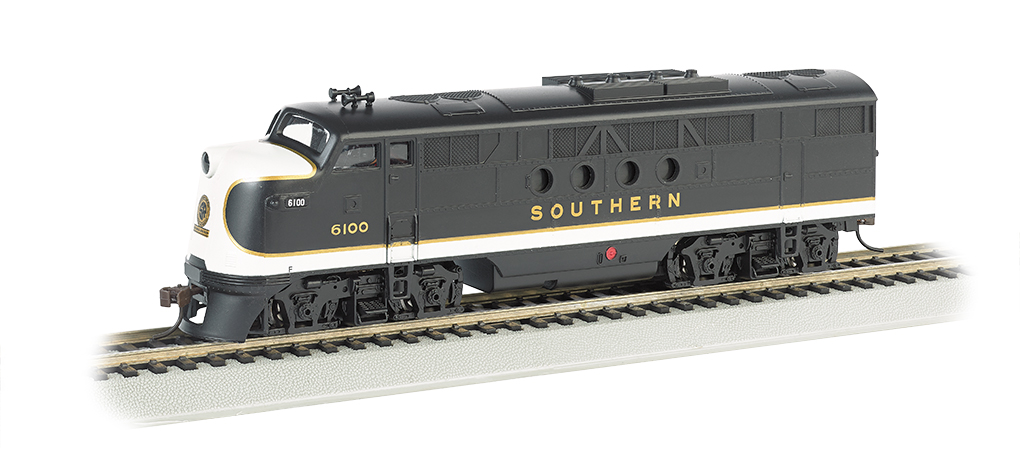 Bachmann 68904 HO Southern Railway EMD FT Diesel Locomotive with Bluet This is a Bachmann 68904 HO Scale Southern Railway EMD FT with E-Z App™ Wireless #6100 . It Features of E-Z App™ Touch-Screen Train Control include: wireless control with any Bluetooth® 4-supported iPhone®, iPad®, or iOS device (includes iPhone® 4s, 5, 5c, 5s, 6, and 6 Plus; iPad Air® and iPad mini™, 3rd and 4th generations; and iPod touch® 5 or newer) , operates from up to 100 feet away with Bluetooth® Smart technology, realistic, dynamic engine sound broadcast through your Bluetooth® 4-supported smart device,requires 16 volt DC or DCC track power for operation, ready to launch and use instantly after downloading the FREE Bachmann E-Z App™ from the Apple App Store, and no configuration or additional equipment required. Locomotive features: all-wheel drive,can motor,LED headlights,RP25 wheel contours,E-Z Mate® Mark II couplers, and Performs best on 18 radius curves or greater.Condition: Factory New (C-9All original; unused; factory rubs and evidence of handling, shipping and factory test run.Standards for all toy train related accessory items apply to the visual appearance of the item and do not consider the operating functionality of the equipment.Condition and Grading Standards are subjective, at best, and are intended to act as a guide. )Operational Status: FunctionalThis item is brand new from the factory.Original Box: Yes (P-9May have store stamps and price tags. Has inner liners.)Manufacturer: BachmannModel Number: 68904Road Name: Southern RailwayMSRP: $219.00Scale/Era: HO ModernModel Type: Diesel LocoAvailability: Ships in 1 Business Day!The Trainz SKU for this item is P12112331. Track: 12112331 - No Location Assigned - 001 - TrainzAuctionGroup00UNK - TDIDUNK