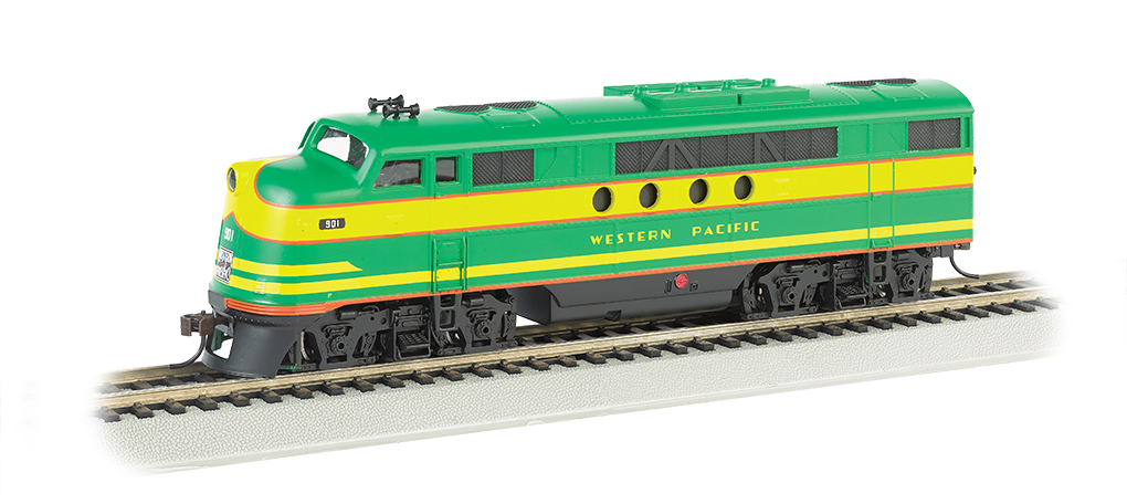 Bachmann 68905 HO Western Pacific EMD FT Diesel Locomotive with Blueto This is a Bachmann 68905 HO Scale Western Pacific EMD FT with E-Z App™ Wireless #901 . It Features of E-Z App™ Touch-Screen Train Control include: wireless control with any Bluetooth® 4-supported iPhone®, iPad®, or iOS device (includes iPhone® 4s, 5, 5c, 5s, 6, and 6 Plus; iPad Air® and iPad mini™, 3rd and 4th generations; and iPod touch® 5 or newer) , operates from up to 100 feet away with Bluetooth® Smart technology, realistic, dynamic engine sound broadcast through your Bluetooth® 4-supported smart device,requires 16 volt DC or DCC track power for operation, ready to launch and use instantly after downloading the FREE Bachmann E-Z App™ from the Apple App Store, and no configuration or additional equipment required. Locomotive features: all-wheel drive,can motor,LED headlights,RP25 wheel contours,E-Z Mate® Mark II couplers, and Performs best on 18 radius curves or greater.Condition: Factory New (C-9All original; unused; factory rubs and evidence of handling, shipping and factory test run.Standards for all toy train related accessory items apply to the visual appearance of the item and do not consider the operating functionality of the equipment.Condition and Grading Standards are subjective, at best, and are intended to act as a guide. )Operational Status: FunctionalThis item is brand new from the factory.Original Box: Yes (P-9May have store stamps and price tags. Has inner liners.)Manufacturer: BachmannModel Number: 68905Road Name: Western PacificMSRP: $219.00Scale/Era: HO ModernModel Type: Diesel LocoAvailability: Ships in 1 Business Day!The Trainz SKU for this item is P12112332. Track: 12112332 - No Location Assigned - 001 - TrainzAuctionGroup00UNK - TDIDUNK