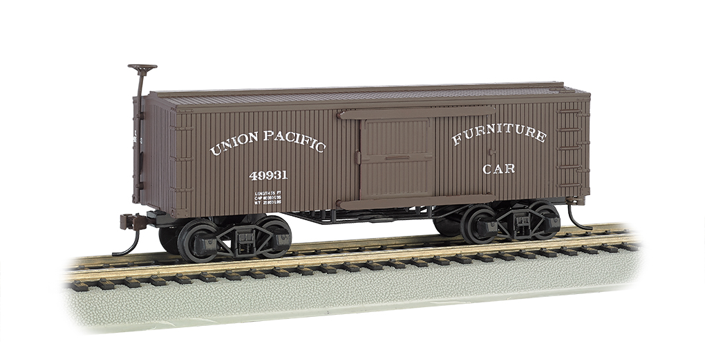 Bachmann 72302 HO Union Pacific Furniture Car- Old-time Box Car This is a Bachmann 72302 HO Scale Union Pacific Furniture Car- Old-time Box Car. This early steam era box car looks great with our new 4-4-0 American steam locomotive. Silver Series® rolling stock features: blackened metal wheels, body mounted couplers, and non-magnetic axles.Condition: Factory New (C-9All original; unused; factory rubs and evidence of handling, shipping and factory test run.Standards for all toy train related accessory items apply to the visual appearance of the item and do not consider the operating functionality of the equipment.Condition and Grading Standards are subjective, at best, and are intended to act as a guide. )Operational Status: FunctionalThis item is brand new from the factory.Original Box: Yes (P-9May have store stamps and price tags. Has inner liners.)Manufacturer: BachmannModel Number: 72302MSRP: $29.00Scale/Era: HO ModernModel Type: Freight CarsAvailability: Ships in 3 to 5 Business Days.The Trainz SKU for this item is P12157793. Track: 12157793 - FS - 001 - TrainzAuctionGroup00UNK - TDIDUNK