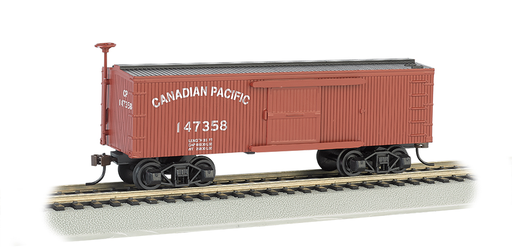 Bachmann 72303 HO Canadian Pacific Furniture Car- Old-time Box Car This is a Bachmann 72303 HO Scale Canadian Pacific Furniture Car- Old-time Box Car. This early steam era box car looks great with our new 4-4-0 American steam locomotive. Silver Series® rolling stock features: blackened metal wheels, body mounted couplers, and non-magnetic axles.Condition: Factory New (C-9All original; unused; factory rubs and evidence of handling, shipping and factory test run.Standards for all toy train related accessory items apply to the visual appearance of the item and do not consider the operating functionality of the equipment.Condition and Grading Standards are subjective, at best, and are intended to act as a guide. )Operational Status: FunctionalThis item is brand new from the factory.Original Box: Yes (P-9May have store stamps and price tags. Has inner liners.)Manufacturer: BachmannModel Number: 72303MSRP: $29.00Scale/Era: HO ModernModel Type: Freight CarsAvailability: Ships in 2 Business Days!The Trainz SKU for this item is P12157794. Track: 12157794 - No Location Assigned - 001 - TrainzAuctionGroup00UNK - TDIDUNK