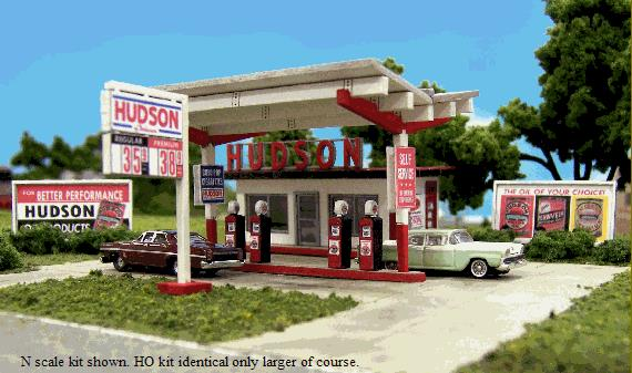 Blair Line 1002 N Hudson Oil Gas Station Laser-Cut Building Laser-Cut This is a Blair Line 184-1002 N Scale Hudson Oil Gas Station Kit - 2-5/16 x 1-1/2 5.9 x 3.8cm A Great Addition to any Street Scene Serving 35 states at its peak, Hudson offered self-service gas at a time when this approach was still very unusual. Based on prototypes used from the 1950s to the 80s, the kit features laser-cut tab and slot walls and floors for fast, easy and precise assembly, plus peel-and-stick trim, doors, windows and roofing. The kit is complete with office structure with rest rooms, canopy, pump island with four pumps, large roadside Hudson sign, a soda machine, two billboard frames with four different billboards to choose from, and for the finishing touch, customizable gas price signs so you can display correct prices for the era you model.Condition: Factory New (C-9All original; unused; factory rubs and evidence of handling, shipping and factory test run.Standards for all toy train related accessory items apply to the visual appearance of the item and do not consider the operating functionality of the equipment.Condition and Grading Standards are subjective, at best, and are intended to act as a guide. )Operational Status: FunctionalThis item is brand new from the factory.Original Box: Yes (P-9May have store stamps and price tags. Has inner liners.)Manufacturer: Blair LineModel Number: 1002MSRP: $34.95Scale/Era: N ScaleModel Type: BuildingsAvailability: Ships in 2 Business Days!The Trainz SKU for this item is P11563668. Track: 11563668 - 4011-B (Suite 2730-100)  - 001 - TrainzAuctionGroup00UNK - TDIDUNK