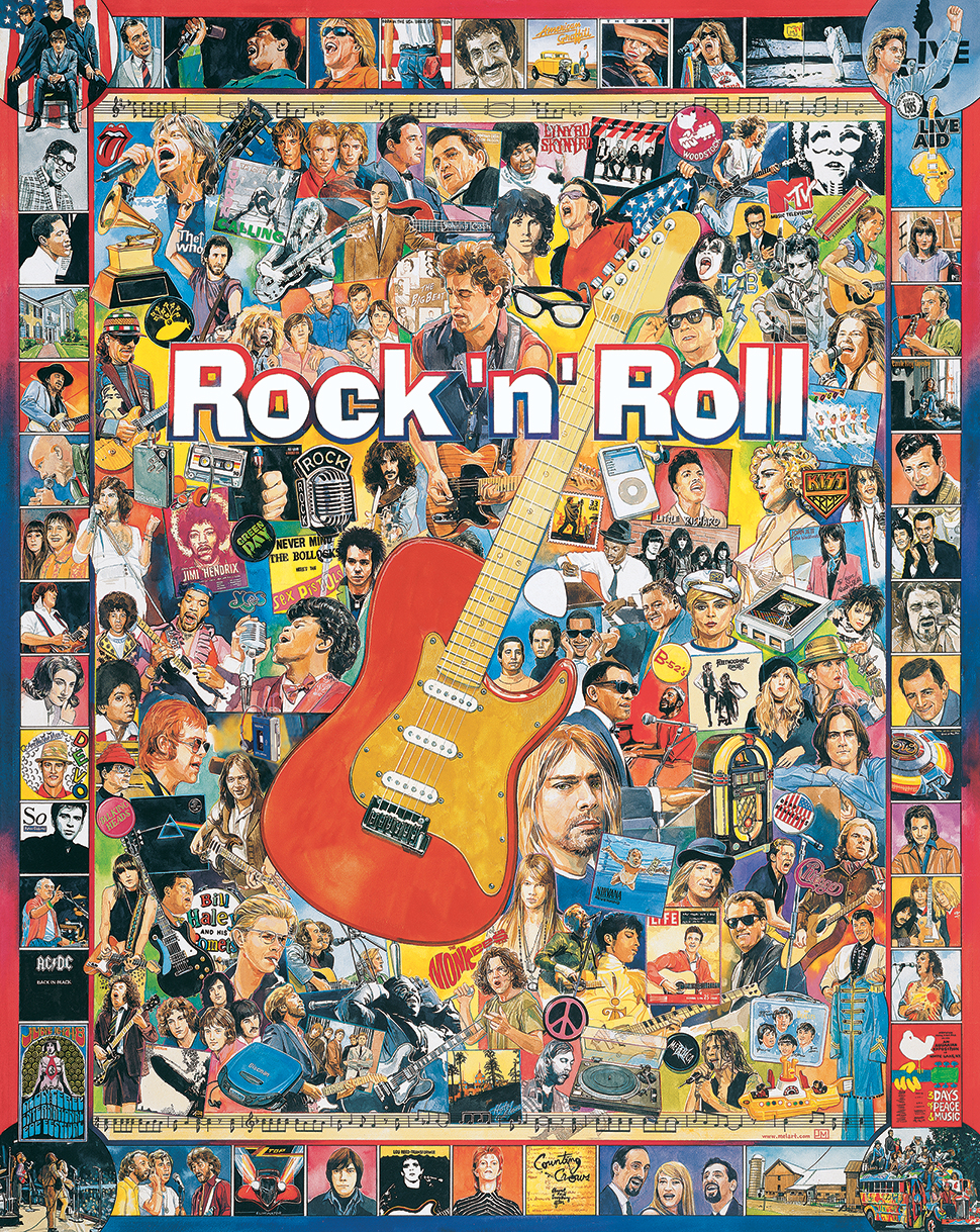 White Mountain Puzzles 409PZ Rock N Roll Puzzles This is a White Mountain Puzzles 409PZ Rock N Roll Puzzles. When it comes to rock 'n' roll puzzles, this one from artist James Mellett really rocks the house. All the great rock stars and pop icons from the 1950s to the present are pictured on this fantastic puzzle. You may even find yourself humming some legendary tunes or be moved to play some air guitar while putting it together. Item 409: 1000 piece jigsaw puzzle: Finished size 24 X 30 . Would make a great wall hanging when completed for any rock 'n' roll fan. The Beatles, Jim Croce, Dick Clark, Neil Diamond, Neil Young, ZZ Top, Jimmy Buffet, Bruce Springsteen, Madonna, Jimi Hendrix, the Grateful Dead, Michael Jackson, James Taylor, Crosby, Stills and Nash, Ray Charles, Stevie Wonder and so many more. Can you identify all these legends of Rock 'N Roll? If not, no worries. Just check out the puzzle key for Mellett's Rock 'N' Roll puzzle for a cheat sheet of these icons of Rock 'N' Roll.Condition: Factory NewOperational Status: FunctionalThis item is brand new from the factory.Original Box: YesManufacturer: White Mountain PuzzlesModel Number: 409PZMSRP: $17.95Category 1: Books and MediaCategory 2: PuzzlesAvailability: Ships in 3 to 5 Business Days.The Trainz SKU for this item is P11994115. Track: 11994115 - FS - 001 - TrainzAuctionGroup00UNK - TDIDUNK