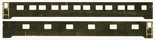 Brass Car Sides 542 N Illinois Central 11 Bedroom  B  Series Sleeper This is a Brass Car Sides 542 N Scale Brass Sides - Illinois Central 11 Bedroom B Series Sleeper Photo-etched brass sides for streamlined passenger cars. Window openings and grab iron holes are etched through, with additional etched details on the surface. Sides are undecorated and can be used with the various American Limited Models Passenger Car Core Kits (#147-8010 - 8040) sold separately. Comes with instructions. In July of 1952 the IC ordered six 11-bedroom sleeping cars from Pullman- Standard for assignment to the City of Miami and Panama Limited. The cars were built to Plan 4168A and delivered as Lot 6912 in July of the following year. The cars were named as follows, with the numbers in parentheses being applied in 1969: Baton Rouge (3500); Belleville (3501); Benton (3502); Bloomington (3503); Brookhaven (3505); Bradley (3504). The cars rode on 41-BNO-11 trucks and used Safety Industries electro-mechanical air conditioners. All of the cars were sold in 1970-71 to private parties.Condition: Factory New (C-9All original; unused; factory rubs and evidence of handling, shipping and factory test run.Standards for all toy train related accessory items apply to the visual appearance of the item and do not consider the operating functionality of the equipment.Condition and Grading Standards are subjective, at best, and are intended to act as a guide. )Operational Status: FunctionalThis item is brand new from the factory.Original Box: Yes (P-9May have store stamps and price tags. Has inner liners.)Manufacturer: Brass Car SidesModel Number: 542Road Name: Illinois CentralMSRP: $24.75Scale/Era: N ScaleModel Type: Passenger CarsAvailability: Ships in 3 to 5 Business Days.The Trainz SKU for this item is P11464214. Track: 11464214 - FS - 001 - TrainzAuctionGroup00UNK - TDIDUNK