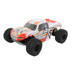 ECX 03028T1 1/10 AMP MT 2wd Monster Truck: White/Orange Ready-to-Run This is an ECX 03028T1 1/10 AMP MT 2wd Monster Truck: White/Orange Ready-to-Run. From the second you hit the pavement with the savage and satisfying ECX® AMP™ Monster Truck, it's clear; there's no equivalent to this truck's style, performance, and durability. Just like you'd expect from an ECX vehicle, the AMP Monster Truck won't back down from conquering rough terrain and is equally menacing on asphalt. Not only does the AMP Monster Truck feature the hard-hitting durability drivers have come to expect from the ECX brand it also features waterproof electronics and 2.4GHz connectivity. That means not even Mother Nature can stand between you and the adrenaline pumping antics you crave. The AMP MT is even upgradable to be ready when you want to take your next rampage to the next levels.Key Features:Ready-to-run540 Size 20T brushed motorWaterproof electronicsFull range 2.4GHz transmitterRechargeable Dynamite® 7.2V 1800 mAh Ni-MH battery includedDynamite® Ni-MH 110-240V charger includedNylon composite chassisOil-filled shocksFully painted and decaled body2WD transmission with gear differentialsCaptured hinge pinsIndependent suspensionCondition: Factory NewOperational Status: FunctionalThis item is brand new from the factory.Original Box: YesManufacturer: ECXModel Number: 03028T1MSRP: $159.99Category 1: Other ToysCategory 2: Radio Control ToysAvailability: Ships in 1 Business Day!The Trainz SKU for this item is P12163576. Track: 12163576 - No Location Assigned - 001 - TrainzAuctionGroup00UNK - TDIDUNK