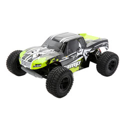 ECX 03028T2 1/10 AMP MT 2wd Monster Truck: Black/Green Ready-to-Run This is an ECX 03028T2 1/10 AMP MT 2wd Monster Truck: Black/Green Ready-to-Run. From the second you hit the pavement with the savage and satisfying ECX® AMP™ Monster Truck, it's clear; there's no equivalent to this truck's style, performance, and durability. Just like you'd expect from an ECX vehicle, the AMP Monster Truck won't back down from conquering rough terrain and is equally menacing on asphalt. Not only does the AMP Monster Truck feature the hard-hitting durability drivers have come to expect from the ECX brand it also features waterproof electronics and 2.4GHz connectivity. That means not even Mother Nature can stand between you and the adrenaline pumping antics you crave. The AMP MT is even upgradable to be ready when you want to take your next rampage to the next levels.Key Features:Ready-to-run540 Size 20T brushed motorWaterproof electronicsFull range 2.4GHz transmitterRechargeable Dynamite® 7.2V 1800 mAh Ni-MH battery includedDynamite® Ni-MH 110-240V charger includedNylon composite chassisOil-filled shocksFully painted and decaled body2WD transmission with gear differentialsCaptured hinge pinsIndependent suspensionCondition: Factory NewOperational Status: FunctionalThis item is brand new from the factory.Original Box: YesManufacturer: ECXModel Number: 03028T2MSRP: $159.99Category 1: Other ToysCategory 2: Radio Control ToysAvailability: Ships in 1 Business Day!The Trainz SKU for this item is P12163577. Track: 12163577 - No Location Assigned - 001 - TrainzAuctionGroup00UNK - TDIDUNK
