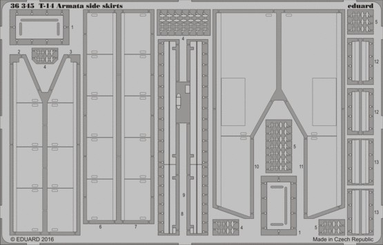 Eduard 36345 1:35 Armor T-14 Armata Side Skirts This is an Eduard 36345 1:35 Armor T-14 Armata Side Skirts. A 1:35 scale detail set for Takom kit.Condition: Factory NewOperational Status: FunctionalThis item is brand new from the factory.Original Box: YesManufacturer: EduardModel Number: 36345MSRP: $39.95Category 1: SuppliesCategory 2: DecalsAvailability: Ships in 3 to 5 Business Days.The Trainz SKU for this item is P12191247. Track: 12191247 - FS - 001 - TrainzAuctionGroup00UNK - TDIDUNK