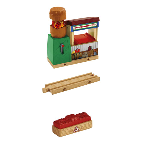 """Fisher Price CDK60 Thomas & Friends Wooden Railway Sodor Dynamite Blas This is a Fisher Price CDK60 Thomas & Friends™ Wooden Railway Sodor Dynamite Blast. It Features: Destination piece can be attached to any Wooden Railway train track and played with any Wooden Railway train engine or cargo car (sold separately and subject to availability), Push """"fuse"""" lever down – barrel """"explodes"""" as lever rises back up , Exploding barrel"""" is easily reset by pressing down on open barrel, Load and unload TNT cargo from shed into cargo car, Inspired by the upcoming DVD, Sodor's Legend of the Lost Treasure and Helps develop gross motor skills, sensory skills & reasoning skills.Condition: Factory New (C-9All original; unused; factory rubs and evidence of handling, shipping and factory test run.Standards for all toy train related accessory items apply to the visual appearance of the item and do not consider the operating functionality of the equipment.Condition and Grading Standards are subjective, at best, and are intended to act as a guide. )Operational Status: FunctionalThis item is brand new from the factory.Original Box: Yes (P-9May have store stamps and price tags. Has inner liners.)Manufacturer: Fisher PriceModel Number: CDK60MSRP: $52.99Scale/Era: ThomasModel Type: Wooden TrainsAvailability: Ships in 2 Business Days!The Trainz SKU for this item is P12112212. Track: 12112212 - No Location Assigned - 001 - TrainzAuctionGroup00UNK - TDIDUNK"""