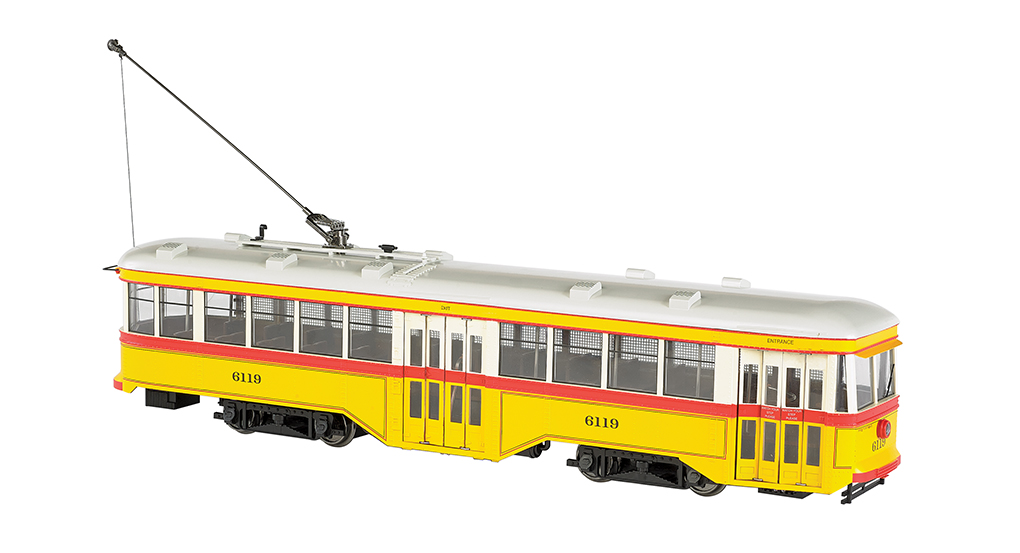 Bachmann 91701 G Baltimore Transit Co. Peter Witt Streetcar - Standard This is a Bachmann 91701 G Baltimore Transit Co. Peter Witt Streetcar Standard DC #6119. Features: 1:29 scaling, DCC ready with factory-installed 21-pin and 8-pin sockets for DCC decoder installation of your choice, can be operated on track power or overhead wire (trolley wheel compatible with LGB overhead wire), sound ready with factory-installed speaker, precision can motor, LED headlight and rear stop light, interior lighting, manually operated front and rear bi-fold doors, painted interior with seats, photo-etched brass safety screen per prototype.Condition: Factory New (C-9All original; unused; factory rubs and evidence of handling, shipping and factory test run.Standards for all toy train related accessory items apply to the visual appearance of the item and do not consider the operating functionality of the equipment.Condition and Grading Standards are subjective, at best, and are intended to act as a guide. )Operational Status: FunctionalThis item is brand new from the factory.Original Box: Yes (P-9May have store stamps and price tags. Has inner liners.)Manufacturer: BachmannModel Number: 91701MSRP: $429.00Scale/Era: G ScaleModel Type: Electric LocoAvailability: Ships in 1 Business Day!The Trainz SKU for this item is P11985401. Track: 11985401 - No Location Assigned - 001 - TrainzAuctionGroup00UNK - TDIDUNK