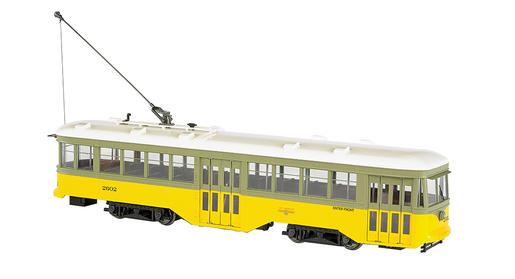 Bachmann 91702 G Los Angeles Railway Peter Witt Streetcar - Standard D This is a Bachmann 91702 G Los Angeles Railway Peter Witt Streetcar Standard DC #2602. Features: 1:29 scaling, DCC ready with factory-installed 21-pin and 8-pin sockets for DCC decoder installation of your choice, can be operated on track power or overhead wire (trolley wheel compatible with LGB overhead wire), sound ready with factory-installed speaker, precision can motor, LED headlight and rear stop light, interior lighting, manually operated front and rear bi-fold doors, painted interior with seats, photo-etched brass safety screen per prototype.Condition: Factory New (C-9All original; unused; factory rubs and evidence of handling, shipping and factory test run.Standards for all toy train related accessory items apply to the visual appearance of the item and do not consider the operating functionality of the equipment.Condition and Grading Standards are subjective, at best, and are intended to act as a guide. )Operational Status: FunctionalThis item is brand new from the factory.Original Box: Yes (P-9May have store stamps and price tags. Has inner liners.)Manufacturer: BachmannModel Number: 91702MSRP: $429.00Scale/Era: G ScaleModel Type: Electric LocoAvailability: Ships in 1 Business Day!The Trainz SKU for this item is P12136440. Track: 12136440 - No Location Assigned - 001 - TrainzAuctionGroup00UNK - TDIDUNK