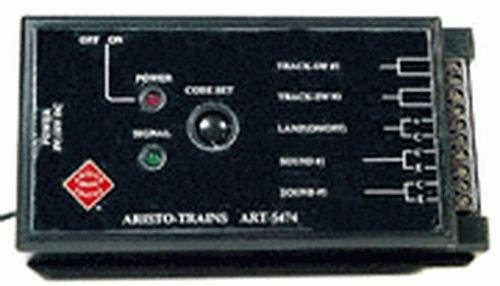 Aristo-Craft 55474 Remote Accessory Receivers Here is an Aristo-Craft 55474 Remote Accessory Receiver. The transmitter was designed to simulate the television ôclickerô that virtually everyone has now come to use instinctively. The case is made to be ergonomically easier for most sized hands and to make single thumb control practical. A flexible ôrubber duckyô type antenna was chosen to add a safety factor. The buttons were given long life switches for reliability. The entire case was molded out of ABS plastic to minimize breakage. Larger G Gauge locomotives with multiple motors and multiple lash ups of locomotives with long and heavy trains can require up to 10 amps of DC power on a continuous basis. The Train Engineer Track Receiver (track receiver) is capable of handling these demands. The track receiver is also at home with the relatively low amperage and voltage demands of the locomotives and trains of the smaller gages including O, HO and N scales.Condition: Factory New (C-9All original; unused; factory rubs and evidence of handling, shipping and factory test run.Standards for all toy train related accessory items apply to the visual appearance of the item and do not consider the operating functionality of the equipment.Condition and Grading Standards are subjective, at best, and are intended to act as a guide. )Operational Status: FunctionalThis item is brand new from the factory.Original Box: Yes (P-9May have store stamps and price tags. Has inner liners.)Manufacturer: Aristo-CraftModel Number: CRE-55474MSRP: $102.00Scale/Era: G ScaleModel Type: TransformersAvailability: Ships in 3 to 5 Business Days.The Trainz SKU for this item is P11381180. Track: 11381180 - FS - 001 - TrainzAuctionGroup00UNK - TDIDUNK