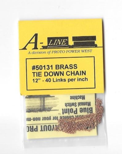 A-Line 50131 HO Brass Tie-Down Chain 12'' This is an A-Line 50131 HO Scale Brass Tie-Down Chain 12'' - 40 Links per inch.Condition: Factory New (C-9All original; unused; factory rubs and evidence of handling, shipping and factory test run.Standards for all toy train related accessory items apply to the visual appearance of the item and do not consider the operating functionality of the equipment.Condition and Grading Standards are subjective, at best, and are intended to act as a guide. )Operational Status: FunctionalThis item is brand new from the factory.Original Box: Yes (P-9May have store stamps and price tags. Has inner liners.)Manufacturer: A-LineModel Number: 50131MSRP: $5.95Scale/Era: HO ModernModel Type: VehiclesAvailability: Ships in 3 to 5 Business Days.The Trainz SKU for this item is P11453903. Track: 11453903 - FS - 001 - TrainzAuctionGroup00UNK - TDIDUNK