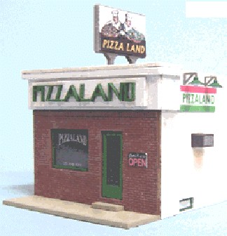 Blair Line 196 HO Pizzaland Laser-Cut Building Laser-Cut Building Kit This structure is based on the original Pizzaland building made famous in the opening credits  drive  on the hit show Sopranos on HBO. This kit is officially licensed by Pizzaland. We worked closely with the owner of the real Pizzaland to make our kit a close replica of the prototype structure in North Arlington, New Jersey. We even include the air conditioner, crawl space openings and burglar bars to make it authentic. Pizzaland would look great in just about any business district, industrial area or at roadside. And its small footprint will make it easy to find room for this kit. This is one kit you must have on your layout. Kapeesh?!Kit features laser-cut floor, sidewalk, roofing, interior and exterior walls with tab and slot connections. Front wall is laser etched brick, cut with exactly the same brick pattern as the prototype. Includes laser-cut window glazing, peel-n-stick doors and peel-n-stick roofing for easy assembly. Side window frame is injection molded plastic, front window frame is laser cut. Also includes signs, burglar bars and lampshades. And last but not least a laser-cut rooftop  Pizzaland  sign and a laser-cut  Pizzaland  storefront sign digitized off a prototype photo for accuracy.N scale kit dimensions: 1.25  x 2.18 .HO scale kit dimensions: 2.25  x 4.00 .Condition: Factory New (C-9All original; unused; factory rubs and evidence of handling, shipping and factory test run.Standards for all toy train related accessory items apply to the visual appearance of the item and do not consider the operating functionality of the equipment.Condition and Grading Standards are subjective, at best, and are intended to act as a guide. )Operational Status: FunctionalThis item is brand new from the factory.Original Box: Yes (P-9May have store stamps and price tags. Has inner liners.)Manufacturer: Blair LineModel Number: 196MSRP: $33.95Scale/Era: HO ModernModel Type: BuildingsAvailability: Ship
