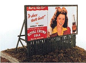 JL Innovative Design 276 HO Fence Base Billboards Kit 1940s-50s Movie This is a JL Innovative Design 276 HO Fence Base Billboards Kit 1940s-50s Movie Stars for RC Cola (2). Billboards feature movie stars promoting RC Cola.Condition: Factory New (C-9All original; unused; factory rubs and evidence of handling, shipping and factory test run.Standards for all toy train related accessory items apply to the visual appearance of the item and do not consider the operating functionality of the equipment.Condition and Grading Standards are subjective, at best, and are intended to act as a guide. )Operational Status: FunctionalThis item is brand new from the factory.Original Box: Yes (P-9May have store stamps and price tags. Has inner liners.)Manufacturer: JL Innovative DesignModel Number: 276MSRP: $9.99Scale/Era: HO ModernModel Type: AccessoriesAvailability: Ships in 3 to 5 Business Days.The Trainz SKU for this item is P12027780. Track: 12027780 - FS - 001 - TrainzAuctionGroup00UNK - TDIDUNK