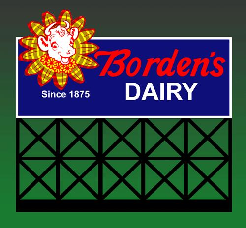 Miller Engineering 1051 O/HO Borden's Dairy Animated Billboard Sign This is a Miller Engineering 1051 HO/O Scales Borden's Dairy Animated Billboard Sign. Got a Dairy, we got a sign! Another unforgettable American icon. Borden's was founded by Gail Borden, Jr in 1857. Borden began selling processed milk to consumers in 1875, and pioneered the use of glass milk bottles in 1885. Borden began selling evaporated milk in 1892. Today, after many years of downsizing, Borden's milk is only sold in a few southern states. Great addition to your layout or a diorama. Dimensions: approx. 5.0 high x 4.5 wide Kit includes: Electroluminescence sign lamp Power supply (requires 3 AAA batteries - not included) Sign supports Complete instructions Runs on 3 AAA batteries or 4.5v DC wall adapter power supply (sold separately).Condition: Factory New (C-9All original; unused; factory rubs and evidence of handling, shipping and factory test run.Standards for all toy train related accessory items apply to the visual appearance of the item and do not consider the operating functionality of the equipment.Condition and Grading Standards are subjective, at best, and are intended to act as a guide. )Operational Status: FunctionalThis item is brand new from the factory.Original Box: Yes (P-9May have store stamps and price tags. Has inner liners.)Manufacturer: Miller EngineeringModel Number: 1051MSRP: $49.95Scale/Era: HO ModernModel Type: AccessoriesAvailability: Ships in 1 Business Day!The Trainz SKU for this item is P11658328. Track: 11658328 - No Location Assigned - 001 - TrainzAuctionGroup00UNK - TDIDUNK