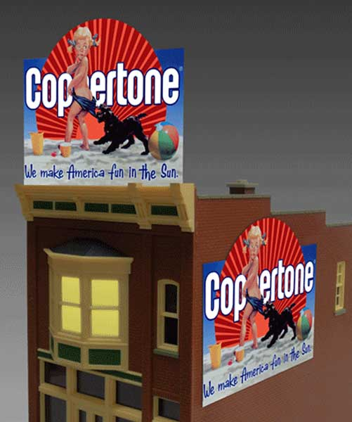 Miller Engineering 1061 O/HO Lighted Coppertone Animated Billboard Sig This is a Miller Engineering 1061 O/HO Scales Lighted Coppertone Animated Billboard Sign. Limited Edition large Coppertone animated billboard sign. Suitable for HO/O scales. Another classic sign that is an American icon that is still going strong today. Great addition to your layout or a diorama. Dimensions: approx. 5.0 high x 4.75 wide. This sign has 2 contacts and can be mounted two different ways - as a regular rooftop billboard or flush against the side of a building (when mounted flush, the supports and lower contact need to be trimmed off). Kit includes: •Electroluminescence sign lamp •Power supply (requires 3 AAA batteries - not included) •Sign supports •Complete instructions.Condition: Factory New (C-9All original; unused; factory rubs and evidence of handling, shipping and factory test run.Standards for all toy train related accessory items apply to the visual appearance of the item and do not consider the operating functionality of the equipment.Condition and Grading Standards are subjective, at best, and are intended to act as a guide. )Operational Status: FunctionalThis item is brand new from the factory.Original Box: Yes (P-9May have store stamps and price tags. Has inner liners.)Manufacturer: Miller EngineeringModel Number: 1061Road Name: CoppertoneMSRP: $49.95Scale/Era: HO ModernModel Type: AccessoriesAvailability: Ships in 3 to 5 Business Days.The Trainz SKU for this item is P11635998. Track: 11635998 - FS - 001 - TrainzAuctionGroup00UNK - TDIDUNK
