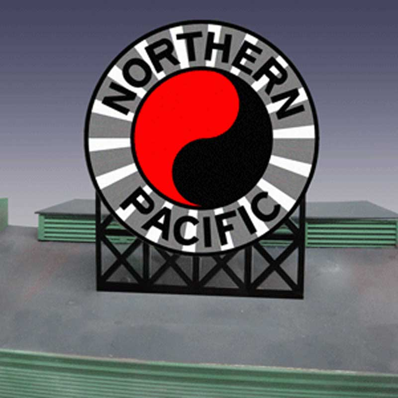 Miller Engineering 1171 O/HO Northern Pacific Animated Billboard Sign This is a Miller Engineering 1171 O/HO Scales Northern Pacific Animated Billboard Sign. Great addition to your layout or a diorama. Complement to the Southern Pacific sign. Dimensions: approx. 4.4 high x 3.65 wide. Kit includes: Electroluminescence sign lamp •Billboard stand and supports •Power supply (requires 3 AAA batteries - not included) •Complete instructionsCondition: Factory New (C-9All original; unused; factory rubs and evidence of handling, shipping and factory test run.Standards for all toy train related accessory items apply to the visual appearance of the item and do not consider the operating functionality of the equipment.Condition and Grading Standards are subjective, at best, and are intended to act as a guide. )Operational Status: FunctionalThis item is brand new from the factory.Original Box: Yes (P-9May have store stamps and price tags. Has inner liners.)Manufacturer: Miller EngineeringModel Number: 1171Road Name: Northern PacificMSRP: $49.95Scale/Era: HO ModernModel Type: AccessoriesAvailability: Ships within 3 Business Days!The Trainz SKU for this item is P11632581. Track: 11632581 - 1026-C (Suite 2740-200)  - 001 - TrainzAuctionGroup00UNK - TDIDUNK
