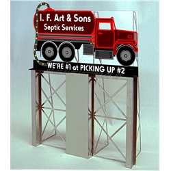 Miller Engineering 1281 HO I.F. Art & Sons Roadside Billboard This is a Miller Engineering 1281 HO Scale I.F. Art & Sons Roadside Billboard. A little humor for your layout! Great addition to your layout or a diorama. Dimensions: approx. 4.5 high x 4.3 wide Kit includes: Electroluminescence sign lamp Billboard stand and supports Power supply (requires 3 AAA batteries - not included) Complete instructions Runs on 3 AAA batteries or 4.5v DC wall adapter power supply (sold separately)Condition: Factory New (C-9All original; unused; factory rubs and evidence of handling, shipping and factory test run.Standards for all toy train related accessory items apply to the visual appearance of the item and do not consider the operating functionality of the equipment.Condition and Grading Standards are subjective, at best, and are intended to act as a guide. )Operational Status: FunctionalThis item is brand new from the factory.Original Box: Yes (P-9May have store stamps and price tags. Has inner liners.)Manufacturer: Miller EngineeringModel Number: 1281MSRP: $45.95Scale/Era: HO ModernModel Type: AccessoriesAvailability: Ships in 1 Business Day!The Trainz SKU for this item is P11976185. Track: 11976185 - 4007-E (Suite 2730-100)  - 001 - TrainzAuctionGroup00UNK - TDIDUNK