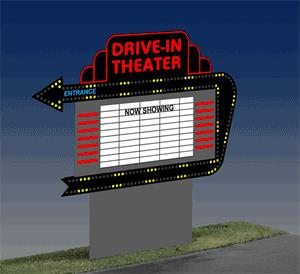 Miller Engineering 1381 HO/O Drive-In Theater Animated Sign This is a Miller Engineering 1381 HO/O Scales Drive-In Theater Animated Sign. Working Neon Signs for Your Layout. Animated simulated-neon signs are perfect for adding flashing and moving lights to your layout. They're easy to install on buildings or as freestanding billboards. The Drive-In Theater sign is two-sided and features chase light arrows to guide people in. It includes Now Showing lettering, several movie titles on a blank field, and peel-and-stick overlays for more variations. The Theater Marquee features chase lights around a white field and colorful theater graphics. It includes peel-and-stick lettering with several movie titles. The sign is ideal for mounting on your favorite theater building and is available in two sizes.Condition: Factory New (C-9All original; unused; factory rubs and evidence of handling, shipping and factory test run.Standards for all toy train related accessory items apply to the visual appearance of the item and do not consider the operating functionality of the equipment.Condition and Grading Standards are subjective, at best, and are intended to act as a guide. )Operational Status: FunctionalThis item is brand new from the factory.Original Box: Yes (P-9May have store stamps and price tags. Has inner liners.)Manufacturer: Miller EngineeringModel Number: 1381MSRP: $55.95Scale/Era: HO ModernModel Type: AccessoriesAvailability: Ships in 1 Business Day!The Trainz SKU for this item is P11620912. Track: 11620912 - No Location Assigned - 001 - TrainzAuctionGroup00UNK - TDIDUNK