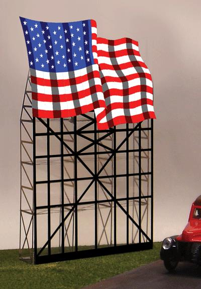 Miller Engineering 4071 HO/O Waving American Flag Animated Neon Billbo This is a Miller Engineering 4071 HO/O Scales Waving American Flag Animated Neon Billboard 5 x 7-21/32. From dancing chase lights to pointing arrows, these animated electroluminiscent billboard kits feature a wide variety of colorful, simulated-neon graphics for a variety of businesses. Kits include battery holder and all necessary electronics for plug-and-play installation. Signs require three AAA batteries (not included). Just install them on your building rooftops or along highways. Large signs are suitable for HO and larger scales, medium signs are usable as large N Scale signs and in HO Scale.Condition: Factory New (C-9All original; unused; factory rubs and evidence of handling, shipping and factory test run.Standards for all toy train related accessory items apply to the visual appearance of the item and do not consider the operating functionality of the equipment.Condition and Grading Standards are subjective, at best, and are intended to act as a guide. )Operational Status: FunctionalThis item is brand new from the factory.Original Box: Yes (P-9May have store stamps and price tags. Has inner liners.)Manufacturer: Miller EngineeringModel Number: 4071MSRP: $52.95Scale/Era: HO ModernModel Type: AccessoriesAvailability: Ships in 1 Business Day!The Trainz SKU for this item is P11594406. Track: 11594406 - No Location Assigned - 001 - TrainzAuctionGroup00UNK - TDIDUNK