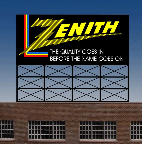 Miller Engineering 440452 N/HO Zenith Animated Billboard This is a Miller Engineering 440452 N/HO Scales Zenith Animated Neon Rooftop Billboard - Light Works USA(TM). Zenith got its start in 1918 when two wireless radio operators set up a factory on a kitchen table in Chicago and began making radio equipment for other amateurs. By the early 1920s, the infant radio industry began to grow as did the business, which sold radios under the name Z-Nith. (This was the origin of the Zenith Trademark, derived from the call letters of the founders' amateur radio station, 9ZN.) Zenith introduced its first color TV sets for consumers in 1961 and quickly established itself as a leading brand. Zenith filed for Chapter 11 bankruptcy in 1999 and was bought by LG Electronics. Great addition to your layout or a diorama. Dimensions: approx. 1.95 high x 2.4 wide Kit includes: Electroluminescence sign Power supply (requires 3 AAA batteries - not included) 6 popular theatre name peel & stick overlays Complete instructions Runs on 3 AAA batteries or 4.5v DC wall adapter power supply (sold separately).Condition: Factory New (C-9All original; unused; factory rubs and evidence of handling, shipping and factory test run.Standards for all toy train related accessory items apply to the visual appearance of the item and do not consider the operating functionality of the equipment.Condition and Grading Standards are subjective, at best, and are intended to act as a guide. )Operational Status: FunctionalThis item is brand new from the factory.Original Box: Yes (P-9May have store stamps and price tags. Has inner liners.)Manufacturer: Miller EngineeringModel Number: 440452Road Name: ZenithMSRP: $29.95Scale/Era: HO ModernModel Type: AccessoriesAvailability: Ships in 3 to 5 Business Days.The Trainz SKU for this item is P11680234. Track: 11680234 - FS - 001 - TrainzAuctionGroup00UNK - TDIDUNK