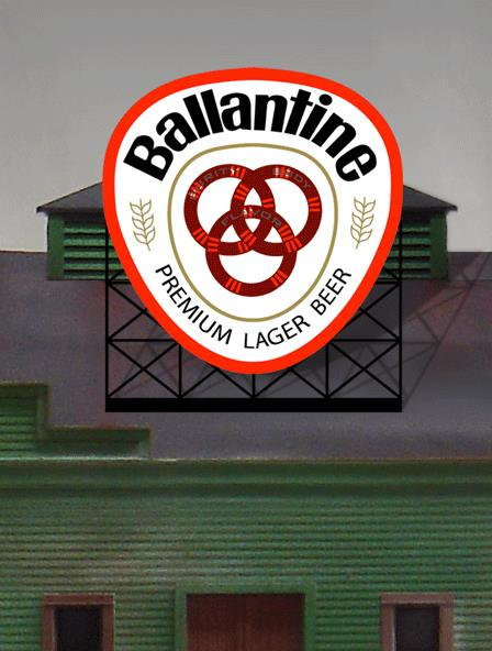 Miller Engineering 440502 N/HO Ballantine Beer Animated Neon Billboard This is a Miller Engineering 440502 N/HO Scales Ballantine Beer Animated Neon Billboard - Light Works USA(TM) Medium. Ballantine Beer was founded in 1840 in Newark, New Jersey, by Peter Ballantine (1791–1883), who emigrated from Scotland. The company was originally incorporated as the Patterson & Ballantine Brewing Co. Ballantine rented an old brewing site which had dated back to 1805. Around 1850, Ballantine bought out his partner and purchased land near the Passaic River to brew his ale. His three sons joined the business and in 1857 the company was renamed P. Ballantine and Sons. Since 2005, the Ballantine Ale brand has been owned and marketed by the Pabst Brewing Company, which in turn outsources the brewing to the Miller Brewing Company - small world! Great addition to your layout or a diorama. Kit includes: Electroluminescence sign lamp Power supply (requires 3 AAA batteries - not included) Complete instructions Dimensions: 2.25 high x 2 wide Runs on 3 AAA batteries, or 4.5vDC AC wall adapter power supply, or AD/DC power converter (sold separately).Condition: Factory New (C-9All original; unused; factory rubs and evidence of handling, shipping and factory test run.Standards for all toy train related accessory items apply to the visual appearance of the item and do not consider the operating functionality of the equipment.Condition and Grading Standards are subjective, at best, and are intended to act as a guide. )Operational Status: FunctionalThis item is brand new from the factory.Original Box: Yes (P-9May have store stamps and price tags. Has inner liners.)Manufacturer: Miller EngineeringModel Number: 440502Road Name: BallantineMSRP: $32.95Scale/Era: HO ModernModel Type: AccessoriesAvailability: Ships within 3 Business Days!The Trainz SKU for this item is P11822863. Track: 11822863 - 4010-E (Suite 2730-100)  - 001 - TrainzAuctionGroup00UNK - TDIDUNK