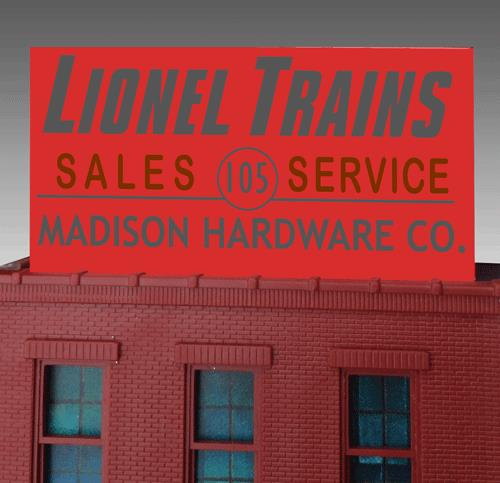 Miller Engineering 441012 N/HO Madison Hardware Animated Neon Billboar This is a Miller Engineering 441012 N/HO Scales Madison Hardware Animated Neon Billboard - Light Works USA™ Small 5 x 2-1/2 12.7 x 6.4cm. Madison Hardware is considered as the most famous of all Lionel train stores. This had a relationship with Lionel. Sadly they closed in August of 1989.Great addition to your layout or a diorama. This sign comes with an additional set of contacts on the back that will allow the sign be flush mounted on the front of a building like the original sign. Kit includes: •Electroluminescence sign lamp •Power supply (requires 3 AAA batteries - not included) •Complete instructions.Condition: Factory New (C-9All original; unused; factory rubs and evidence of handling, shipping and factory test run.Standards for all toy train related accessory items apply to the visual appearance of the item and do not consider the operating functionality of the equipment.Condition and Grading Standards are subjective, at best, and are intended to act as a guide. )Operational Status: FunctionalThis item is brand new from the factory.Original Box: Yes (P-9May have store stamps and price tags. Has inner liners.)Manufacturer: Miller EngineeringModel Number: 441012Road Name: Madison HardwareMSRP: $32.95Scale/Era: HO ModernModel Type: AccessoriesAvailability: Ships in 3 to 5 Business Days.The Trainz SKU for this item is P11973571. Track: 11973571 - FS - 001 - TrainzAuctionGroup00UNK - TDIDUNK