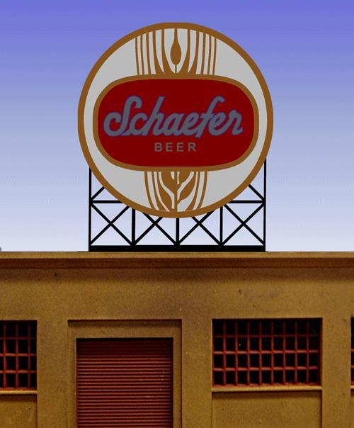Miller Engineering 441302 HO/N Schaefer Beer Animated Neon Billboard S This is a Miller Engineering 441302 HO/N Scales Schaefer Beer Animated Neon Billboard - Light Works USA(TM) Small. This beer was first produced in 1842 by the F. & M. Schaefer Brewing Company, leading to its billing as America's oldest lager beer by its brewers. Until the mid-1970s, it was the world's best selling beer. The brand was purchased by Stroh Brewery Company in 1981. Since 1999, it has was purchased by Pabst. Great addition to your layout or a diorama. Kit includes: Electroluminescence sign lamp Power supply (requires 3 AAA batteries - not included) Complete instructions Dimensions: 2.2 high x 1.8 wide Runs on 3 AAA batteries, or 4.5v DC AC wall adapter power supply, or AD/DC power converter (sold separately).Condition: Factory New (C-9All original; unused; factory rubs and evidence of handling, shipping and factory test run.Standards for all toy train related accessory items apply to the visual appearance of the item and do not consider the operating functionality of the equipment.Condition and Grading Standards are subjective, at best, and are intended to act as a guide. )Operational Status: FunctionalThis item is brand new from the factory.Original Box: Yes (P-9May have store stamps and price tags. Has inner liners.)Manufacturer: Miller EngineeringModel Number: 441302Road Name: SchaeferMSRP: $32.95Scale/Era: HO ModernModel Type: AccessoriesAvailability: Ships in 1 Business Day!The Trainz SKU for this item is P11982242. Track: 11982242 - No Location Assigned - 001 - TrainzAuctionGroup00UNK - TDIDUNK