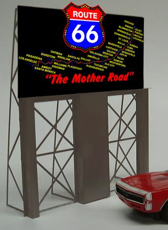 Miller Engineering 5061 HO/O Route 66 Animated Billboard This is a Miller Engineering 5061 HO/O Scales Route 66 Animated Billboard. Limited Edition Highway 66 animated billboard sign. Route 66 was established November 11, 1926, with road signs erected the following year. The highway, which became one of the most famous roads in America, originally ran from Chicago, IL, through Missouri, Kansas, Oklahoma, Texas, New Mexico, Arizona, and California, before ending at Los Angeles, covering a total of 2,448 miles (3,940 km). A great sign with lots of animation and sure to rekindle memories from the past. 40 of the most popular cities are shown along America's most famous roadway. Great addition to your layout or a diorama. Dimensions: approx. 5.3 high x 4.3 wide Kit includes: Electroluminescence sign Power supply (requires 3 AAA batteries - not included) Sign supports Complete instructions Runs on 3 AAA batteries or 4.5v DC wall adapter power supply (sold separately).Condition: Factory New (C-9All original; unused; factory rubs and evidence of handling, shipping and factory test run.Standards for all toy train related accessory items apply to the visual appearance of the item and do not consider the operating functionality of the equipment.Condition and Grading Standards are subjective, at best, and are intended to act as a guide. )Operational Status: FunctionalThis item is brand new from the factory.Original Box: Yes (P-9May have store stamps and price tags. Has inner liners.)Manufacturer: Miller EngineeringModel Number: 5061MSRP: $45.95Scale/Era: HO ModernModel Type: AccessoriesAvailability: Ships in 3 to 5 Business Days.The Trainz SKU for this item is P11636004. Track: 11636004 - FS - 001 - TrainzAuctionGroup00UNK - TDIDUNK