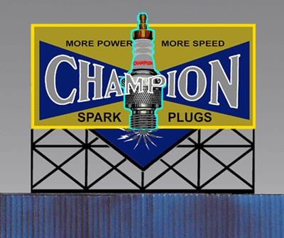Miller Engineering 5072 N/HO Animated Neon Billboard Champion Sparkplu This is a Miller Engineering 5072 N/HO Scales Animated Neon Billboard Champion Sparkplug - Small 2-13/32 Wide, 2-1/16 Tall. From dancing chase lights to pointing arrows, these animated electroluminiscent billboard kits feature a wide variety of colorful, simulated-neon graphics for a variety of businesses. Kits include battery holder and all necessary electronics for plug-and-play installation. Signs require three AAA batteries (not included). Just install them on your building rooftops or along highways. Large signs are suitable for HO and larger scales, medium signs are usable as large N Scale signs and in HO Scale.Condition: Factory New (C-9All original; unused; factory rubs and evidence of handling, shipping and factory test run.Standards for all toy train related accessory items apply to the visual appearance of the item and do not consider the operating functionality of the equipment.Condition and Grading Standards are subjective, at best, and are intended to act as a guide. )Operational Status: FunctionalThis item is brand new from the factory.Original Box: Yes (P-9May have store stamps and price tags. Has inner liners.)Manufacturer: Miller EngineeringModel Number: 5072Road Name: Champion Spark PlugsMSRP: $32.95Scale/Era: HO ModernModel Type: AccessoriesAvailability: Ships within 3 Business Days!The Trainz SKU for this item is P11957207. Track: 11957207 - 4009-C (Suite 2730-100)  - 001 - TrainzAuctionGroup00UNK - TDIDUNK