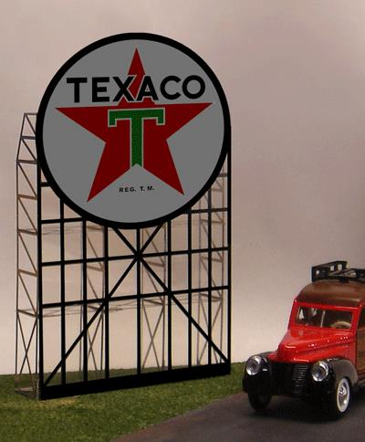 Miller Engineering 5181 HO/O Texaco Animated Billboard This is a Miller Engineering 5181 HO/O Scales Texaco Animated Neon Billboard 4-1/2 x 7-7/8 11.4 x 20cm. Miller Engineering's fifth gas station sign! They have animated the classic star to make it a real eye catcher on any layout. Complete with the support structure to make a stand alone billboard.It features: - One EL Sign Lamp - Photo-etched Stainless Steel Supports - One Ready-to-run Power Supply - Runs on 3 AAA Batteries (not included) - Complete Instructions - Suitable for HO and O Scales - Dimensions (Width x Height): 4-1/2 x 7-9/10 (11.5cm x 49.3cm).Condition: Factory New (C-9All original; unused; factory rubs and evidence of handling, shipping and factory test run.Standards for all toy train related accessory items apply to the visual appearance of the item and do not consider the operating functionality of the equipment.Condition and Grading Standards are subjective, at best, and are intended to act as a guide. )Operational Status: FunctionalThis item is brand new from the factory.Original Box: Yes (P-9May have store stamps and price tags. Has inner liners.)Manufacturer: Miller EngineeringModel Number: 5181Road Name: TexacoMSRP: $52.95Scale/Era: HO ModernModel Type: AccessoriesAvailability: Ships in 1 Business Day!The Trainz SKU for this item is P11588992. Track: 11588992 - No Location Assigned - 001 - TrainzAuctionGroup00UNK - TDIDUNK