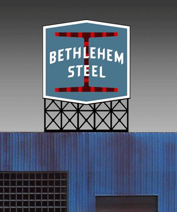 Miller Engineering 5281 HO/O Bethlehem Steel Animated Billboard This is a Miller Engineering 5281 HO/O Scales Bethlehem Steel Animated Neon Billboard. Bethlehem Steel is a must have for any layout that has a steel mill on it. Great addition to your layout or a diorama. Dimensions: approx. 3.8 high x 3 wide Kit includes: Electroluminescence sign Power supply (requires 3 AAA batteries - not included) Complete instructions Runs on 3 AAA batteries (not included) or #4802 4.5v DC power supply (sold separately).Condition: Factory New (C-9All original; unused; factory rubs and evidence of handling, shipping and factory test run.Standards for all toy train related accessory items apply to the visual appearance of the item and do not consider the operating functionality of the equipment.Condition and Grading Standards are subjective, at best, and are intended to act as a guide. )Operational Status: FunctionalThis item is brand new from the factory.Original Box: Yes (P-9May have store stamps and price tags. Has inner liners.)Manufacturer: Miller EngineeringModel Number: 5281Road Name: Bethlehem SteelMSRP: $36.95Scale/Era: HO ModernModel Type: AccessoriesAvailability: Ships in 3 to 5 Business Days.The Trainz SKU for this item is P11588994. Track: 11588994 - FS - 001 - TrainzAuctionGroup00UNK - TDIDUNK